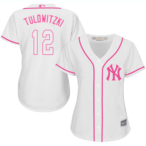 Yankees #12 Troy Tulowitzki White Pink Fashion Women's Stitched Baseball Jersey