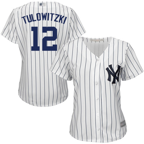 Yankees #12 Troy Tulowitzki White Strip Home Women's Stitched Baseball Jersey