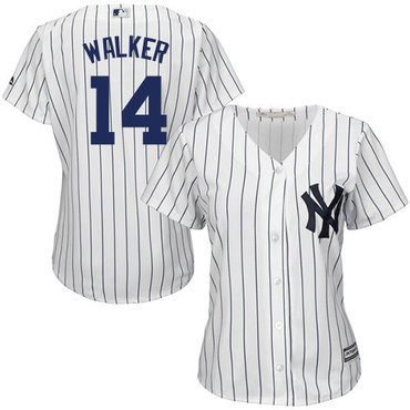 Yankees #14 Neil Walker White Strip Home Women's Stitched MLB Jersey