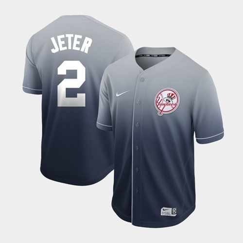 Yankees #2 Derek Jeter Navy Fade Authentic Stitched Baseball Jersey