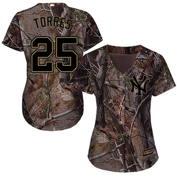 Yankees #25 Gleyber Torres Camo Realtree Collection Cool Base Women's Stitched Baseball Jersey