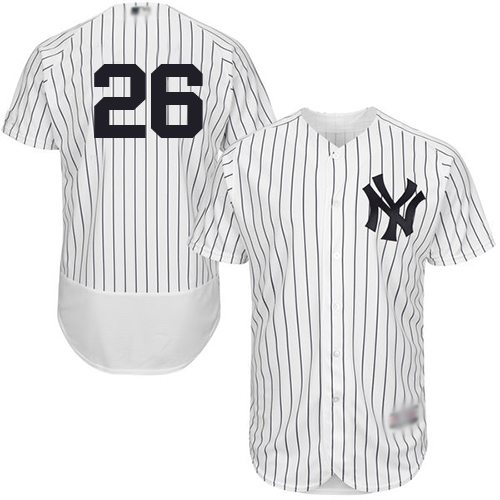 Yankees #26 DJ LeMahieu White Strip Flexbase Authentic Collection Stitched Baseball Jersey