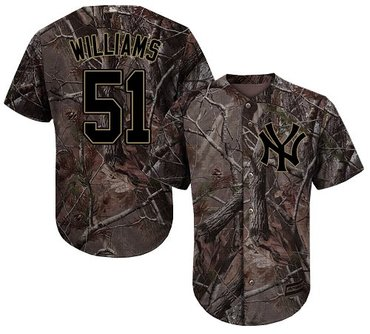 Yankees #51 Bernie Williams Camo Realtree Collection Cool Base Stitched Baseball Jersey