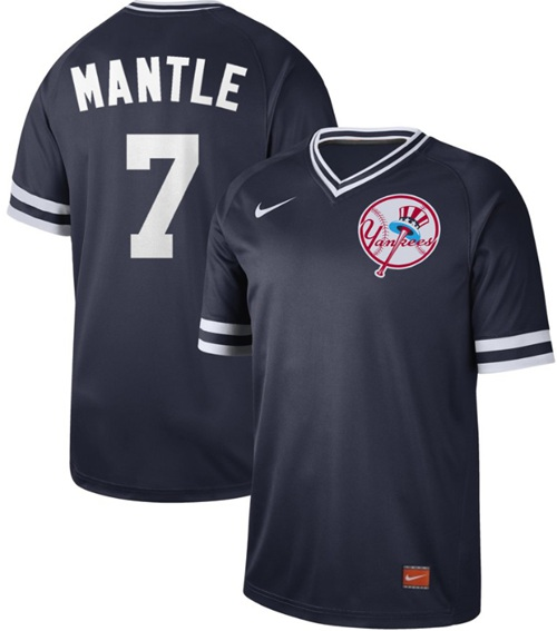 Yankees #7 Mickey Mantle Navy Authentic Cooperstown Collection Stitched Baseball Jersey