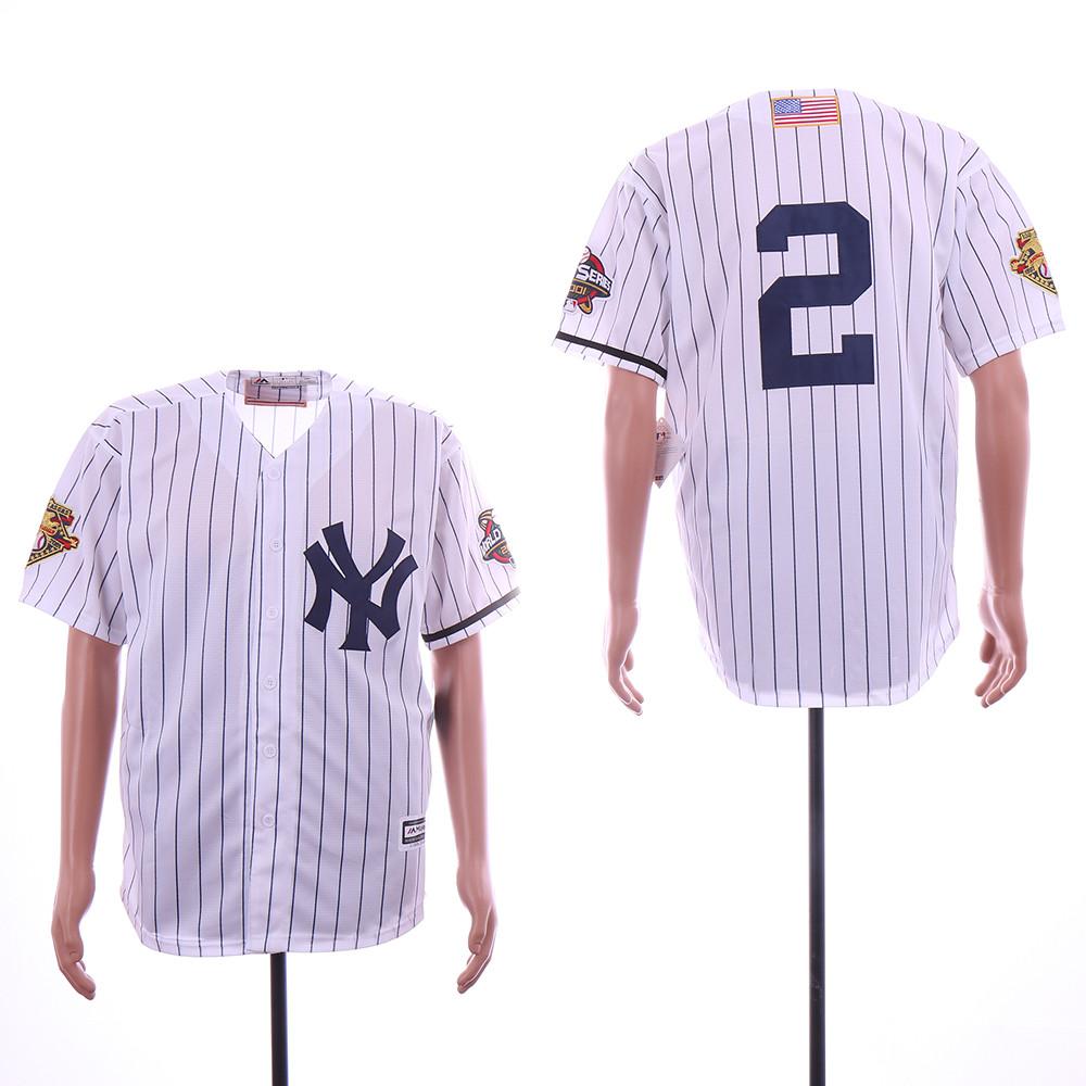Yankees 2 Derek Jeter White 2000 World Series Cool Base Jersey