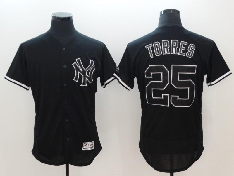 Yankees 25 Gleyber Torres Black Flexbase Jersey