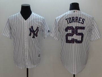 Yankees 25 Gleyber Torres White 2018 Stars & Stripes Cool Base Jersey