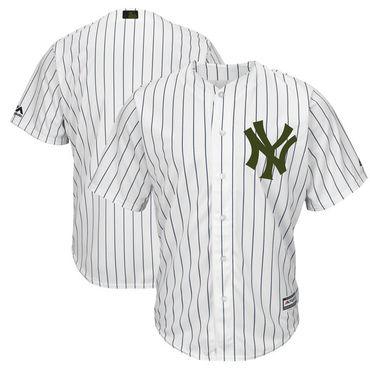 Yankees Blank White 2018 Memorial Day Cool Base Jersey