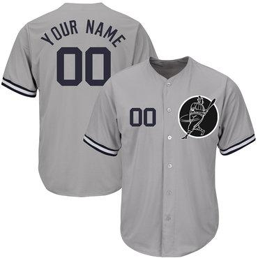 Yankees Gray Men's Customized Cool Base New Design Jersey
