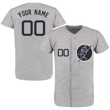 Yankees Gray Men's Customized New Design Jersey
