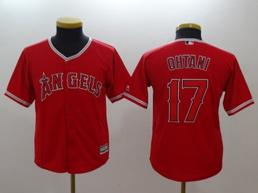 Youth  Angels 17 Shohei Ohtani Red Youth Cool Base Jersey