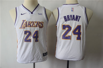 Youth  Lakers 24 Kobe Bryant White Youth Nike Swingman Jersey