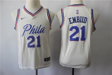 Youth 76ers 21 Joel Embiid Cream City Edition Youth Nike Swingman Jersey