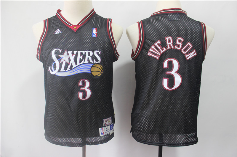 Youth 76ers 3 Allen Iverson Black Youth Hardwood Classics Jersey