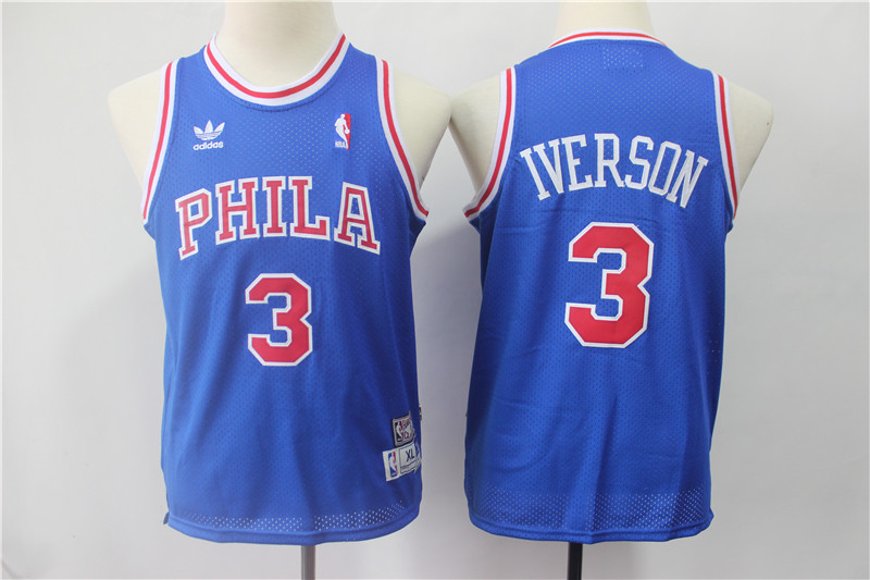 Youth 76ers 3 Allen Iverson Blue Youth Hardwood Classics Jersey