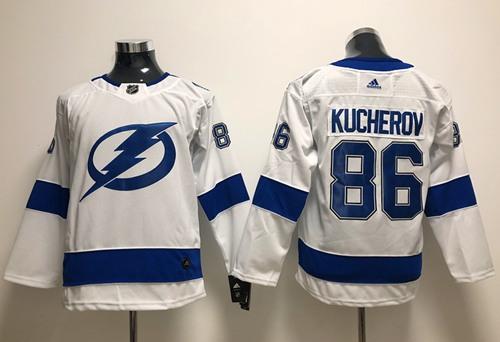 Youth Adidas Lightning #86 Nikita Kucherov White Road Authentic Stitched Youth NHL Jersey