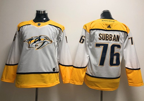 Youth Adidas Predators #76 P.K Subban White Road Authentic Stitched Youth NHL Jersey