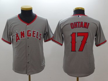 Youth Angels 17 Shohei Ohtani Gray Youth Cool Base Jersey