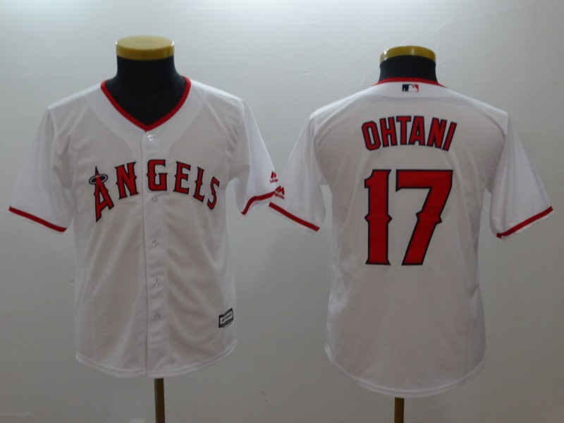 Youth Angels 17 Shohei Ohtani White Youth Cool Base Jersey
