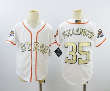 Youth Astros 35 Justin Verlander White Youth 2018 Gold Program Cool Base Jersey