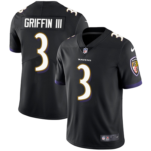 Youth Baltimore Ravens #3 Robert Griffin III Vapor Untouchable Limited Black Alternate Jersey
