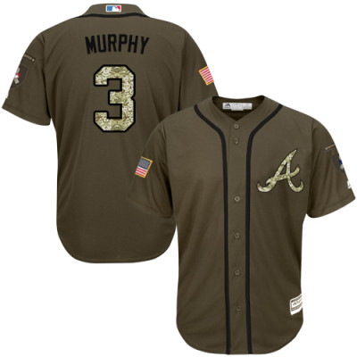 Youth Braves #3 Dale Murphy Green Salute To Service Jersey