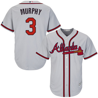Youth Braves #3 Dale Murphy Majestic Gray Road Cool Base Jersey