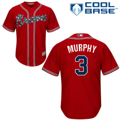 Youth Braves #3 Dale Murphy Red Alternate Cool Base Jersey