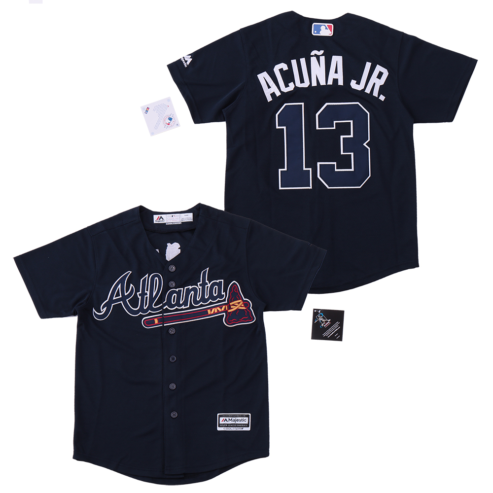 Youth Braves 13 Ronald Acuna Jr. Navy Youth Cool Base Jersey