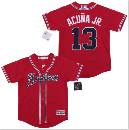 Youth Braves 13 Ronald Acuna Jr. Red Youth Cool Base Jersey