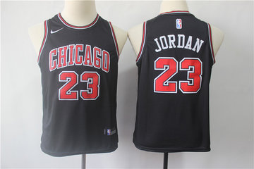 Youth Bulls 23 Michael Jordan Black Youth Nike Swingman Jersey