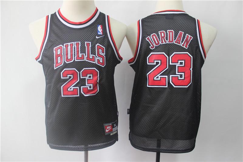 Youth Bulls 23 Michael Jordan Black Youth Throwback Nike Swingman Jersey