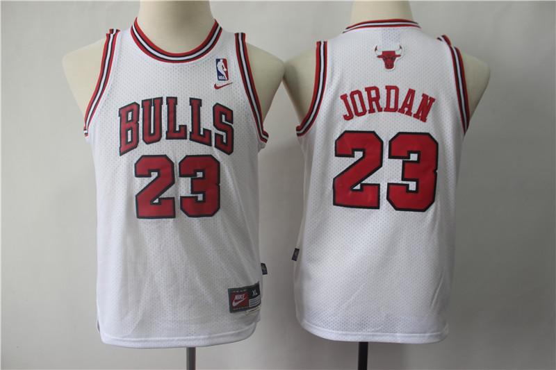 Youth Bulls 23 Michael Jordan White Youth Throwback Nike Swingman Jersey