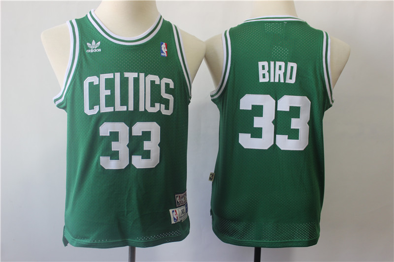 Youth Celtics 33 Larry Bird Green Youth Hardwood Classics Jersey