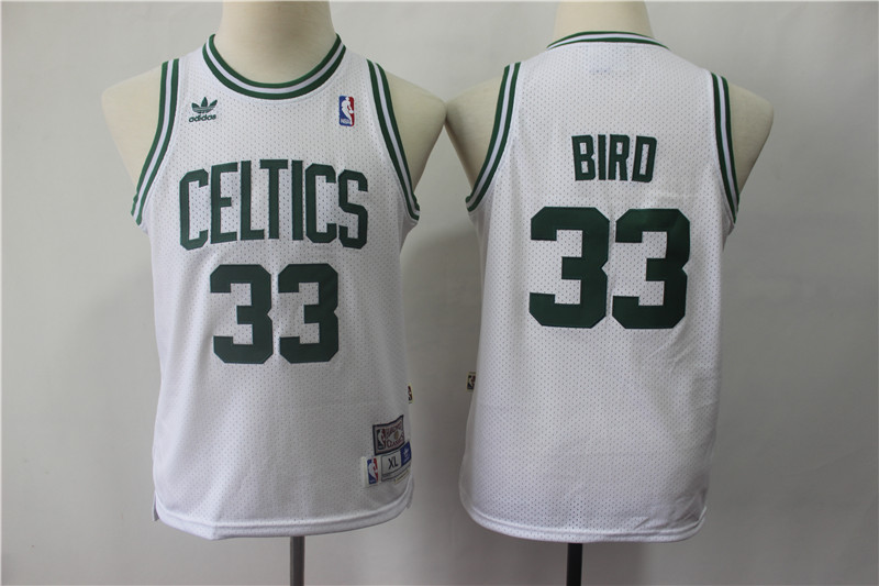 Youth Celtics 33 Larry Bird White Youth Hardwood Classics Jersey