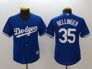 Youth Dodgers 35 Cody Bellinger Blue Youth Cool Base Jersey