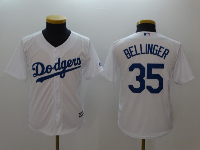 Youth Dodgers 35 Cody Bellinger Gray White Youth Cool Base Jersey