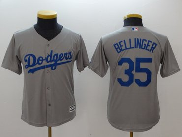 Youth Dodgers 35 Cody Bellinger Gray Youth Cool Base Jersey