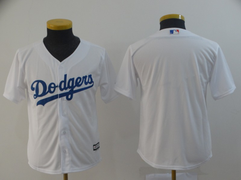 Youth Dodgers Blank White Youth Cool Base Jersey