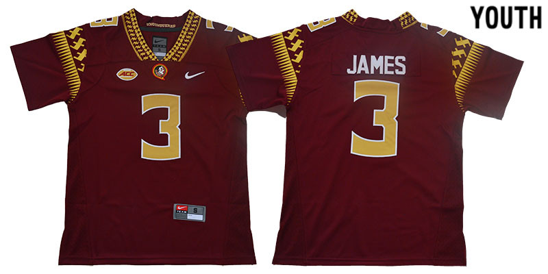 Youth Florida State Seminoles 3 Derwin James Red Youth College Football Jersey