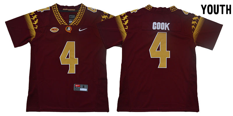 Youth Florida State Seminoles 4 Dalvin Cook Red Youth College Football Jersey