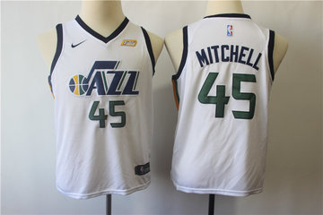 Youth Jazz 45 Donovan Mitchell White Youth Nike Swingman Jersey