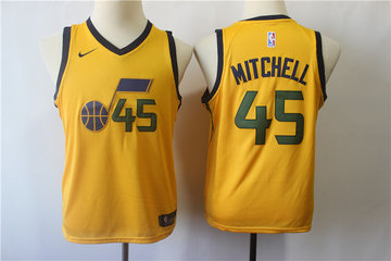 Youth Jazz 45 Donovan Mitchell Yellow Youth Nike Swingman Jersey