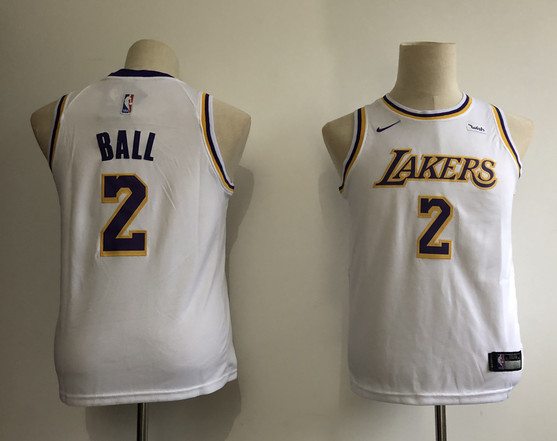 Youth Lakers 2 Lonzo Ball White Youth 2018-19 Nike Swingman Jersey