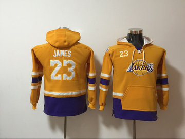 Youth Lakers 23 Lebron James Gold Youth All Stitched Hooded Sweatshirt