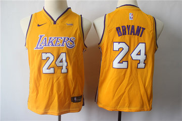 Youth Lakers 24 Kobe Bryant Gold Youth Nike Swingman Jersey