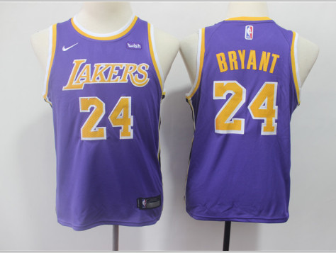 Youth Lakers 24 Kobe Bryant Purple 2018-19 Youth Nike Swingman Jersey