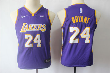 Youth Lakers 24 Kobe Bryant Purple Youth Nike Swingman Jersey