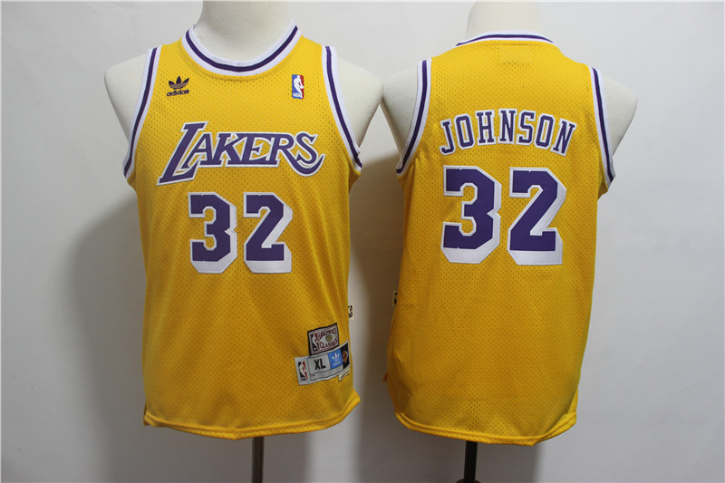 Youth Lakers 32 Magic Johnson Gold Youth Hardwood Classics Jersey