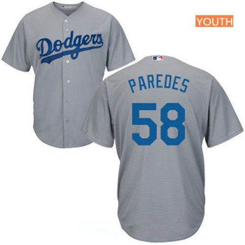 Youth Los Angeles Dodgers #58 Edward Paredes Gray Stitched MLB Majestic Cool Base Jersey